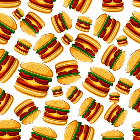 carne asada: bocadillos de hamburguesa de fondo para el café o el menú de diseño entre otras con el modelo inconsútil de la historieta de hamburguesas de comida rápida con carne y tomates, lechuga y queso fundido
