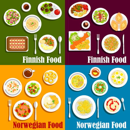 salmon: Seafood dishes of finnish and norwegian cuisine icon of salmon and herring served with boiled potatoes, vegetable salads, stews and soups, blood sausages, meat balls and rice porridge with jam, pancakes and donuts, fish rye and rice pies. Flat style