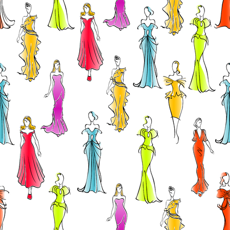 formal wear: Gorgeous fashionable women in formal wear seamless pattern background with colorful long silk sleeveless and one shoulder evening gowns and cocktail dresses. Great for fashion industry design usage Illustration