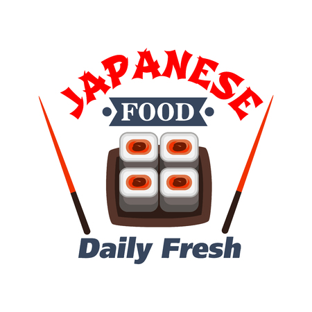 roll bar: Sushi bar and japanese seafood restaurant badge design with maki sushi rolls on square plate with chopsticks on both sides and text Daily Fresh below. Cartoon style