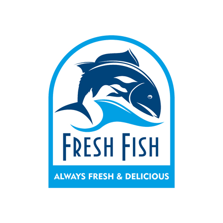 dorado: Retro badge of blue silhouette of salmon swimming in sea waves with caption Fresh Fish. Great for food packaging design