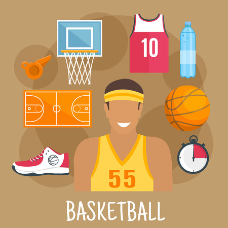 backboard: Basketball game symbol for ball sports theme design with guard player in yellow shirt and headband, ball, court and backboard with basket, red jersey, shoe, whistle and stopwatch
