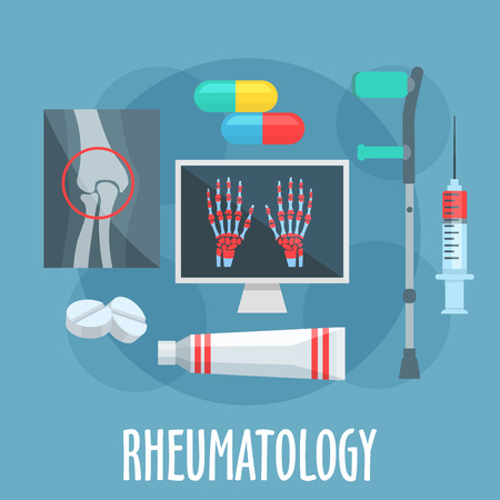 scans: Rheumatology flat icon of diagnostic and therapy principles of rheumatic diseases with symbols of x ray scans of knee joint and hands with arthritis, pills, syringe, ointment tube and crutch