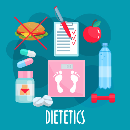 dietetics: Dietetics, nutrition and healthy lifestyle symbol with weight loss tips such as fresh apple fruit, prohibition sign of fast food, bottle of water and food diary, dumbbell, vitamins, diet pills and scales in the center. Flat style