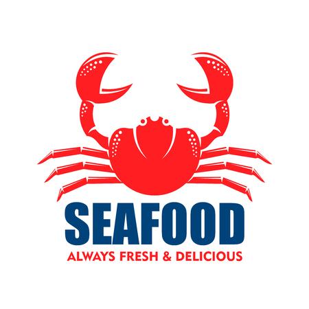 Zeevruchtensymbool voor restaurant of zeevruchtenwinkelontwerpgebruik met rood silhouet van steenkrab met opgeheven klauwen Vector Illustratie