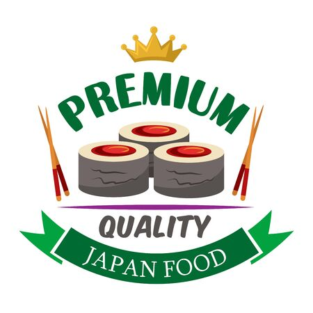 Premium quality japanese food icon of fresh hosomaki sushi rolls filled with marinated tuna, bordered by chopsticks, golden crown and green ribbon banner Illustration