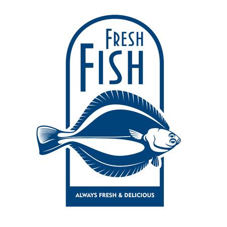Frais de l'icône bateau de fruits de mer pour le label du marché du poisson ou front de mer café insigne utilisation de conception avec le symbole bleu et blanc de l'hiver limande à queue de poisson