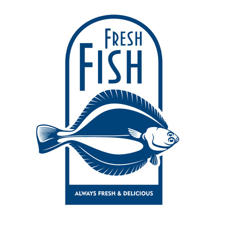 plaice: Fresh from the boat seafood icon for fish market label or waterfront cafe badge design usage with blue and white symbol of winter flounder fish Illustration