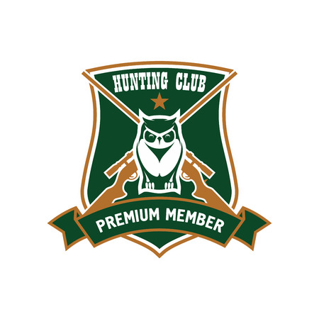 premium member: Forest horned owl with crossed rifles on the background framed by heraldic shield and ribbon banner with captions Hunting Club and Premium Member. Retro style