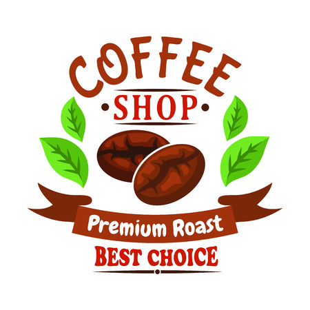 cafe shop: Medium roasted coffee beans of brazilian arabica cartoon badge for coffee shop or cafe design usage decorated by green leaves of coffee tree and wavy ribbon banner