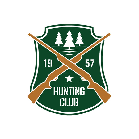 wildfowl: Dark green heraldic shield insignia with crossed hunting rifles and white silhouettes of fir trees, supplemented by foundation date and star. Hunting club or sporting contest design usage