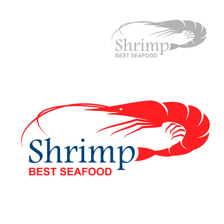 Royal red shrimp icon with caption Shrimp and Best Seafood, including smaller variant in gray color. May be use as cafe signboard or fish market badge design