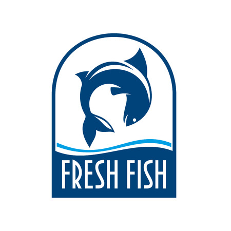 fish jumping: Fresh fish retro stylized symbol for seafood restaurant or fish market signboard design template with fish jumping out of the water