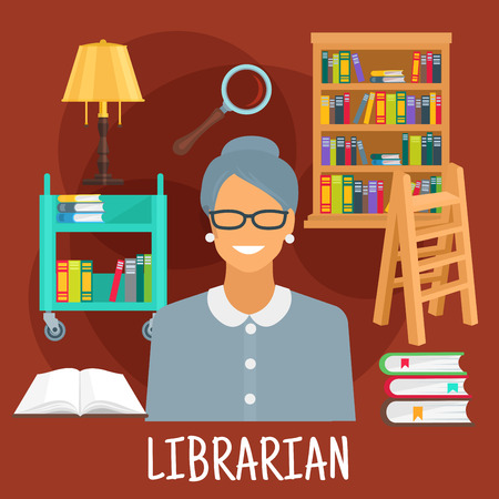 librarian: Smiling female librarian symbol for profession design usage with flat icons of library wooden bookshelf and ladder, book cart with vintage lamp, magnifier and variety of books with colorful spines