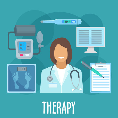 physician: Therapy and primary healthcare symbol of woman physician with stethoscope, surrounded by flat icons of thermometer, blood pressure monitor and scales, medical examination form and computer. General practicioner profession design