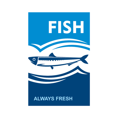 anchovy: Small anchovy symbol flanked by dark blue wavy sea and cyan cloudy sky with text Fish and Always Fresh. Fish market badge or restaurant seafood menu design Illustration