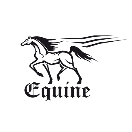 racehorse: Equestrian sporting competition symbol of running racehorse with flowing lines of motion trail and caption Equine in gothic roman style. Use as horse racing or eventing theme design