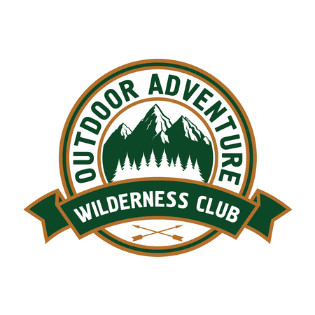 great seal: Outdoor adventure retro badge of scenic mountain landscape with forest, encircled by round seal with ribbon banner and text Wilderness Club. Great for campground symbol or travel theme design