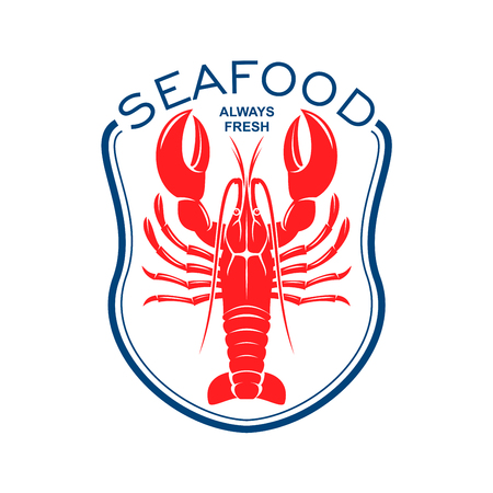topped: Red lobster icon framed by blue bib topped with caption Seafood. Great for seafood restaurant accessories or cafe menu design