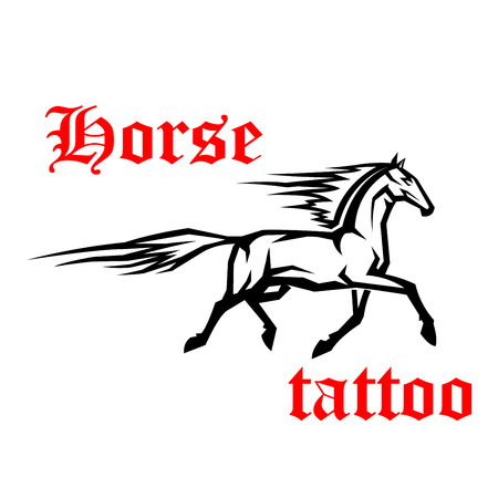 mane: Simple geometrical sketch drawing of galloping arabian horse with motion trails of flying tail and mane. Use as tattoo or horse breeding symbol design