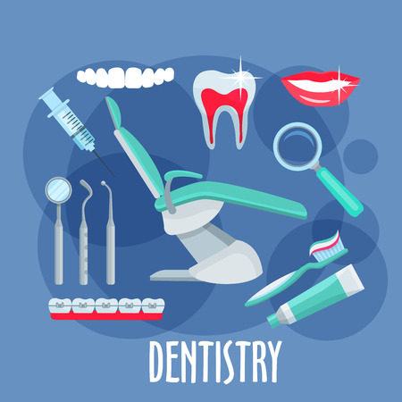dental mirror: Dentist office equipments symbol for dentistry and healthcare design with healthy, clean teeth and smile, dental mirror, pick and probe, toothbrush, toothpaste and syringe, magnifier, braces and dentist chair in the center. Flat style