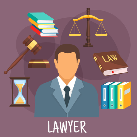 counsel: Confident lawyer in business suit icon with scales of justice, law book and gavel of judge, pile of books, hourglass and folders with cases. Legal protection and lawyer services design. Flat style Illustration