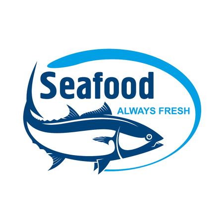 fish shop: Fish market symbol for promotion label design with retro stylized dark blue icon of wild alaskan salmon encircled by oval frame with text Seafood and Always Fresh Illustration