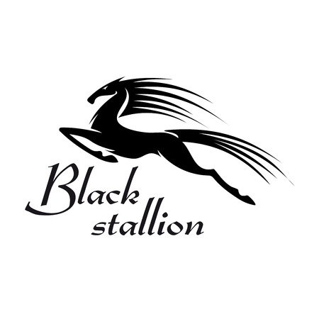 mare: Profile view of horse performing a capriole as mascot for sporting or gambling industry design usage with black silhouette of a mare leaps into the air and kicking out with hind legs