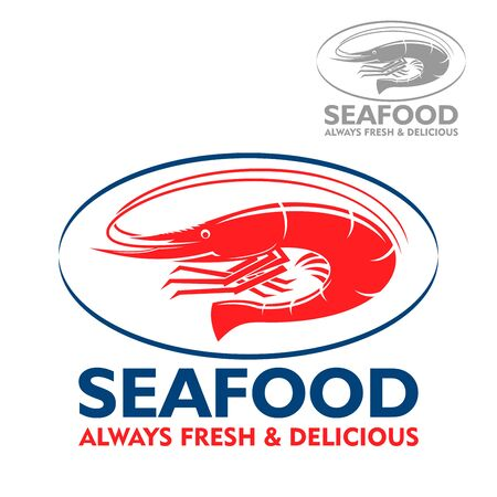 prawn: Wild atlantic prawn with curved tail red icon in blue oval frame. Marine food packaging, seafood restaurant or fish market design