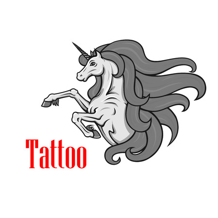 mythological character: Gorgeous gray unicorn icon for tattoo or fairy tale character design with rearing up mythological horse with twisted horn