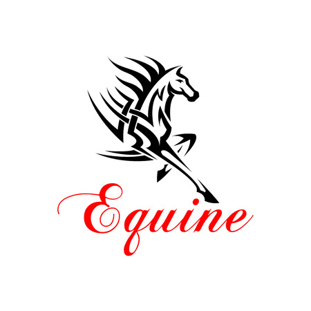 foreleg: Running horse with outstretched foreleg silhouette with tribal pattern of powerful muscles and flowing mane. Equine themed tattoo or t-shirt print design
