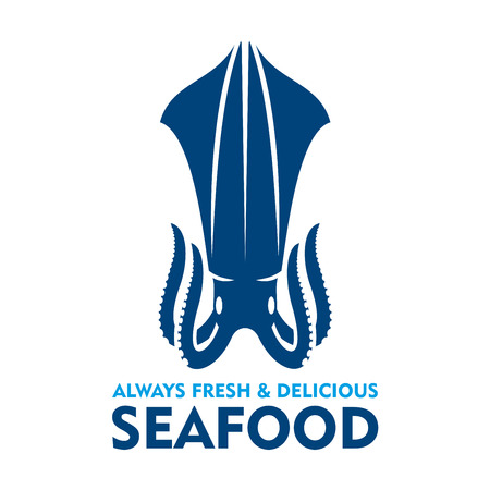 mollusk: Natural organic fresh squid blue silhouette. Seafood emblem design template with marine mollusk for fish farm symbol or seafood market promotion Illustration