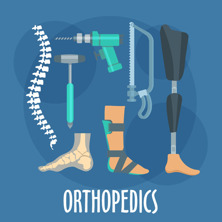 prosthetics: Orthopedics and prosthetics medicine symbol for orthopaedic clinic design usage with bones of vertebral column and foot, prosthetic leg and ankle foot orthosis, charriere bone saw, bone drill and medical hammer. Flat style