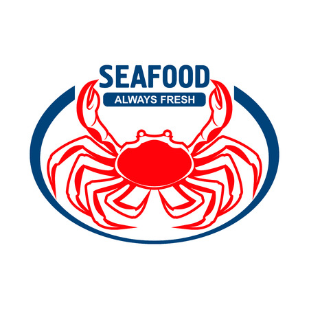 dungeness: Dungeness crab badge design template for fish farm, sushi bar or grill menu of seafood restaurant with red cancer magister presenting header Seafood and Always Fresh