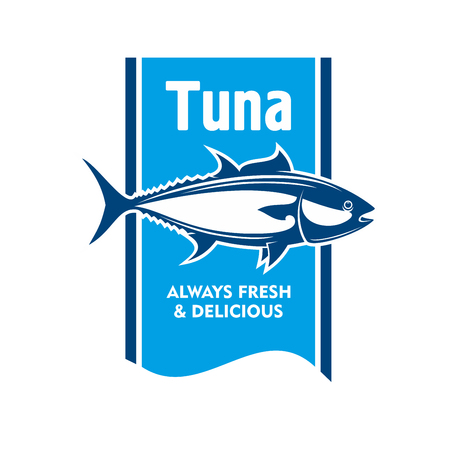 food icon: Atlantic bluefin tuna fish retro icon in blue and white colors. Great for fishing tour promotion or seafood packaging label design