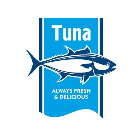 atun rojo: Rojo del Atlántico icono retro atún en colores azul y blanco. Grande para la promoción tour de pesca o el diseño de la etiqueta del envase de mariscos