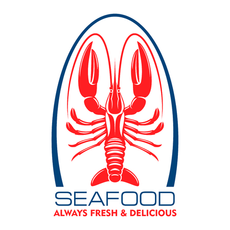 fish shop: Delicious wild caught marine lobster or crayfish red symbol for seafood menu design element or fish shop label. Retro style