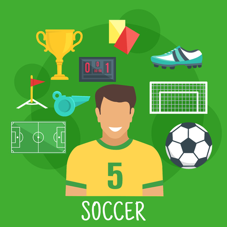 corner flag: Soccer or football game sporting symbol with flat icons of player with ball, game field, scoreboard and gate, golden trophy cup, corner flag, whistle, yellow and red cards, boot