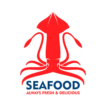cephalopod: Marine squid red symbol with open fins, raised tentacles and blue caption Seafood. Great for fish market badge or food packaging design Illustration
