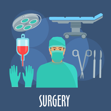 surgeon: Surgeon in scrub, cap and mask in operating room symbol with flat icons of operating table and lamp, blood bag, scalpels, forceps and gloves. Medical professions design usage