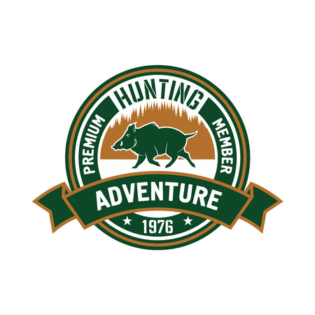 premium member: Premium member of hunting club badge design with brown and green round symbol with running wild boar against forest skyline, supplemented ribbon banner with caption Adventure