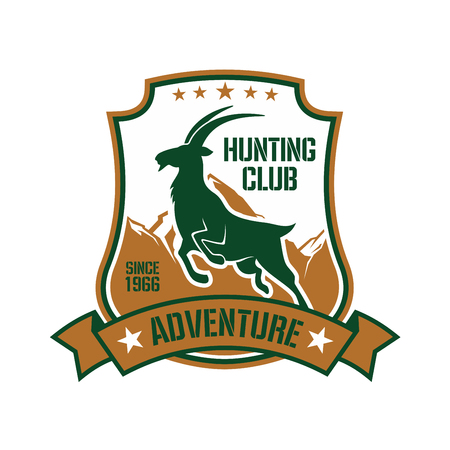 ornated: Hunting badge shield design with dark green silhouette of jumping wild goat with snowy mountain peaks on the background, ornated by stars and ribbon banner Illustration
