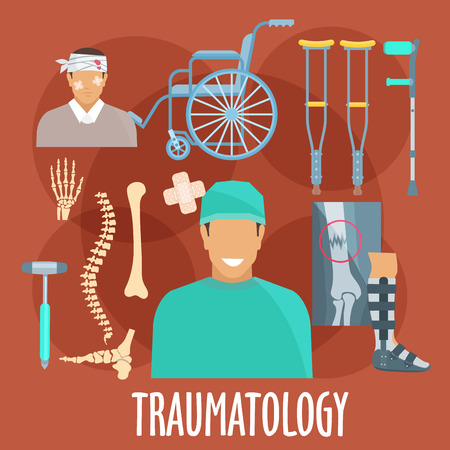 traumatology: Traumatology and trauma surgery flat symbol with traumatologist, injured patient, x-ray of broken bone and medical boot for cast, bones of vertebral column, wrist and foot, medical hammer, crutches and wheel chair