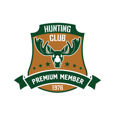 badge with ribbon: Heraldic symbol in a shape of a shield for hunting club membership badge design usage with a head of elk and ribbon banner with stars
