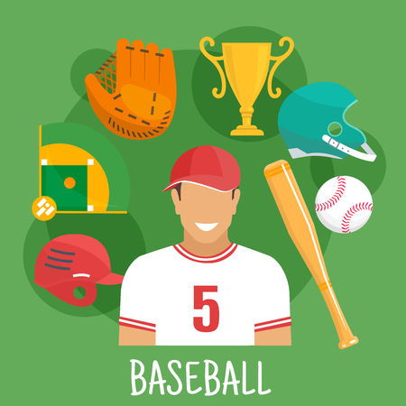 Baseball batter in sporting uniform and cap flat icon for sports competition design usage with symbols of ball, bat, protective helmets and catcher glove, trophy cup and baseball field Illustration