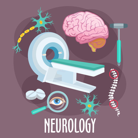 dendrite: Neurological research of disorders of nervous system flat icon of MRI machine with human brain, dendrite and neuron structure models, spine, eye, pills and medical hammer. Healthcare theme design