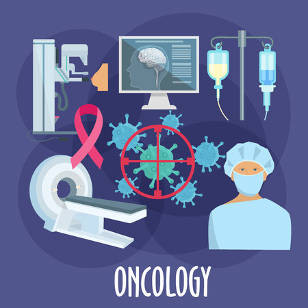 Oncologist with diagnostic equipments icon for oncology medicine design. Surgeon, computed tomography scan and mammography machine, chemotherapy treatments, cancer cells under target and breast cancer ribbon flat symbols Illustration