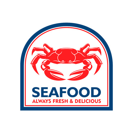 blue crab: Delicious grilled soft shell crab symbol for mediterranean restaurant badge or seafood market label design usage with red crab in blue arched frame. Retro style Illustration