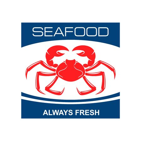 fresh seafood: Fresh seafood bar badge design template with red symbol of wild atlantic snow crab. Great for kitchen accessories or food packaging design Illustration