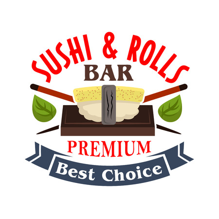choise: Sushi and rolls bar badge design template with cartoon icon of tamago nigiri sushi, topped by egg omelet with crossed chopsticks and green shiso leaves, decorated by ribbon banner with text Best Choise